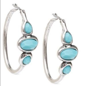 Lucky brand silver and turquoise hoop earrings